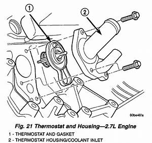 Where Is The Thermostat Located On 2 7 V6 Engine 2001