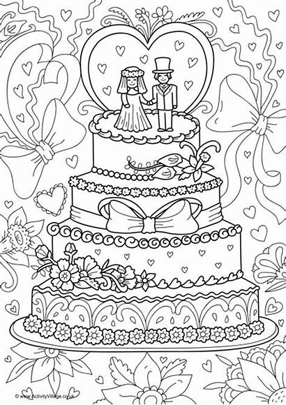 Colouring Cake Pages Colour Activity Coloring Weddings