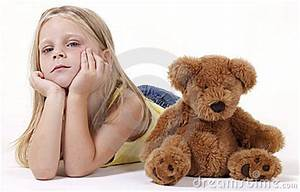 Little Sad Girl With Teddy Royalty Free Stock Photography ...