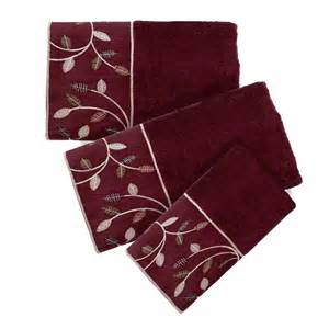 popular bath aubury 3 towel set burgundy ebay