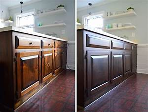 Using polyshades to darken our wood cabinets young house for Young furniture kitchen cabinets