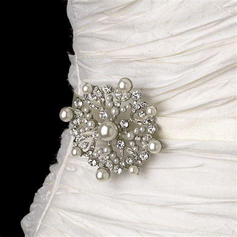Bridal Belt Wedding Dress Jewelry Sash W Silver Pearl