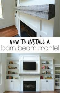 Living Room With Fireplace And Bookshelves by How Install A Barn Beam Mantel Decor And The Dog