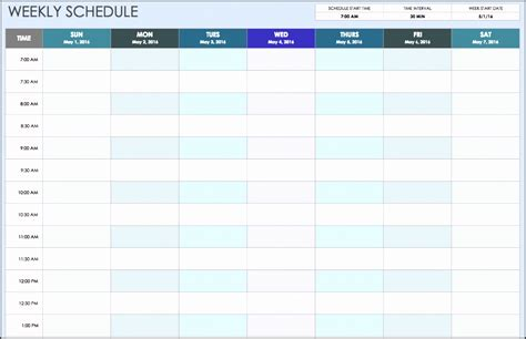 daily work schedule template printable
