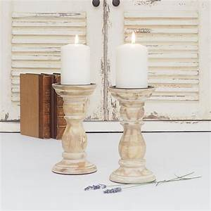 White, Distressed, Wooden, Candle, Holder