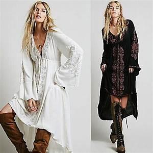 Boho Mode Online Shop : 2017 sexy women spring vintage ethnic flower embroidered cotton tunic casual long dress hippie ~ Watch28wear.com Haus und Dekorationen