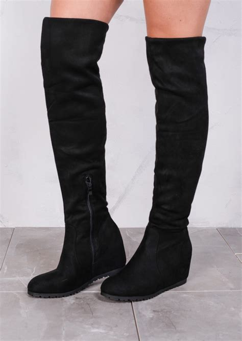 Gosh Flat With High Wedges wedge knee high flat boots suede black
