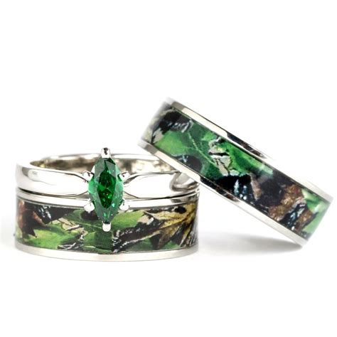 his hers camo green marquis stainless steel sterling silver wedding ring ebay
