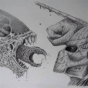 predator alien drawing avp on Instagram