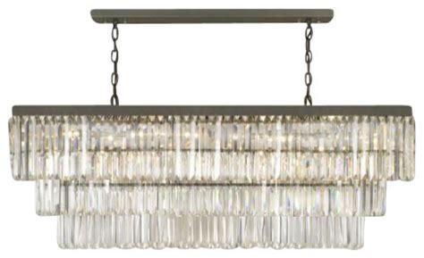 retro odeon glass fringe rectangular chandelier lighting