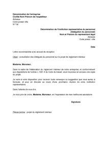 reglement interieur pour le personnel lettre de consultation des d 233 l 233 gu 233 s du personnel sur le