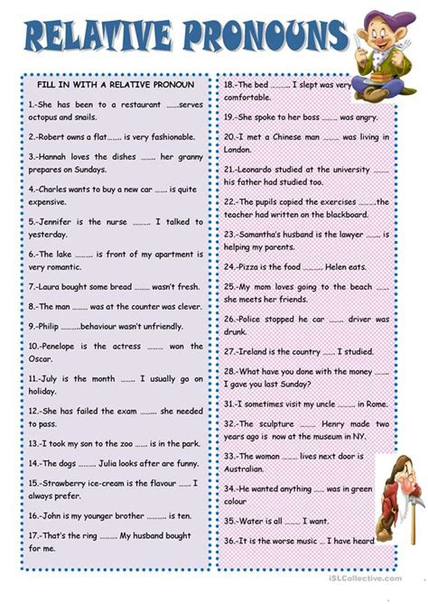 relative pronouns worksheet  esl printable