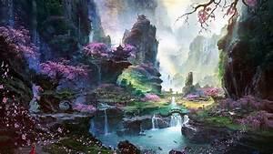 Landscape, Fantasy, Art, Digital, Art, Sky, Trees, Lake