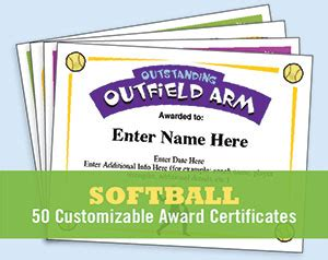 softball certificates  award certificates