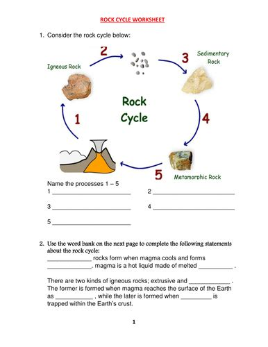 rock cycle worksheet with answers by kunletosin246