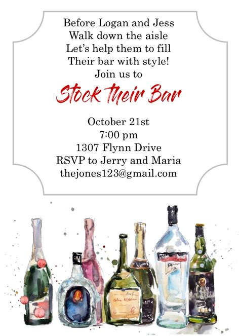 stock  bar shower party invitations  selections