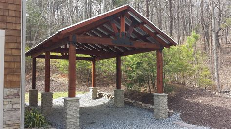 Carport Design With 'stone' Column Bases