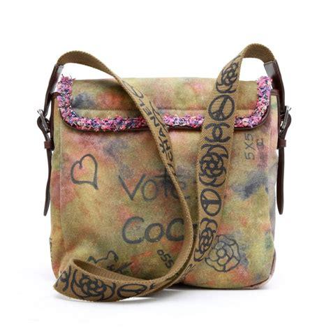chanel peace  love shoulder bag  khaki canvas  stdibs