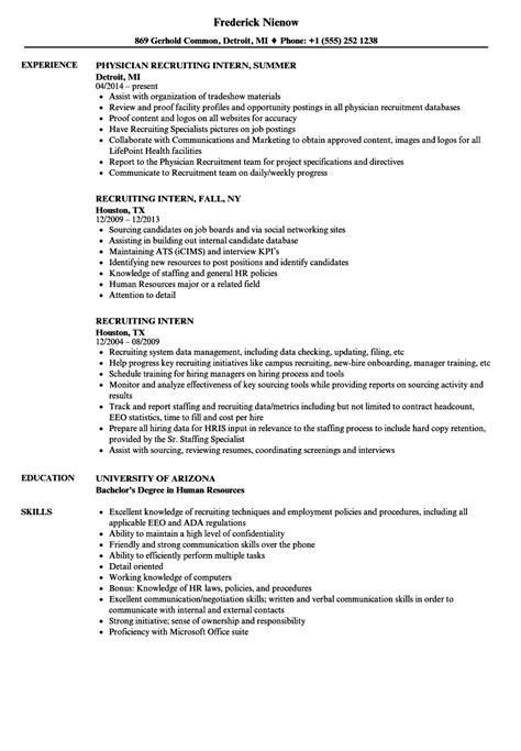recruiting intern resume samples velvet jobs