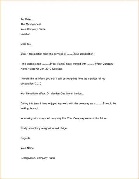 simple resignation letter sample  month notice