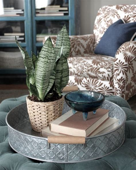 They give you some shape options that are certainly. using a round tray on the coffee table   Ottoman decor, Coffee table, Ottoman coffee table tray