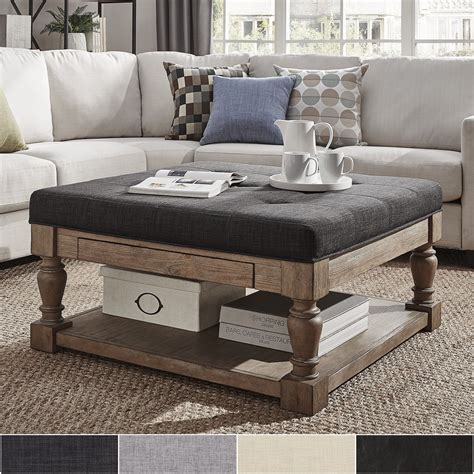 Cloth Ottoman Coffee Table by Tribecca Home Lennon Baluster Storage Ottoman Coffee Table