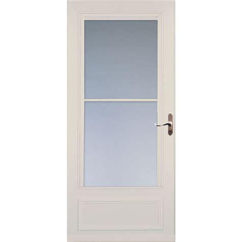larson retractable screen door shop larson almond mid view wood door