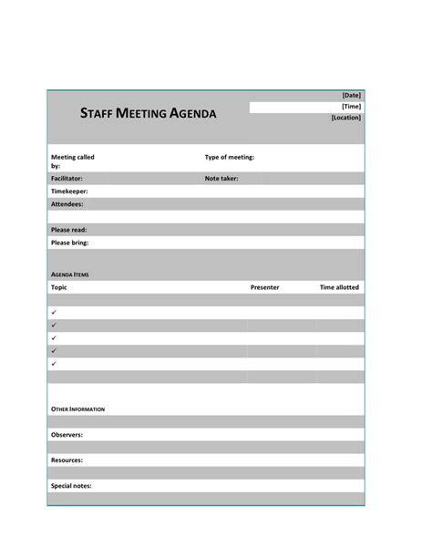 staff meeting agenda template   documents