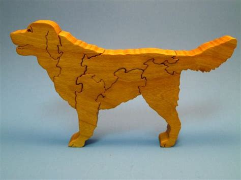 wooden golden retriever scroll  wood dog puzzle