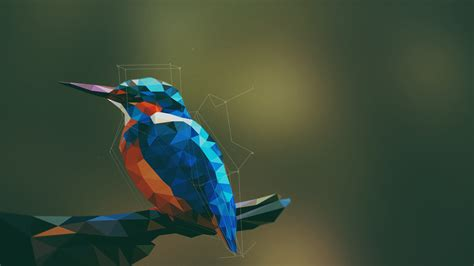 Low Poly Animal Wallpaper - animals birds kingfisher low poly geometry