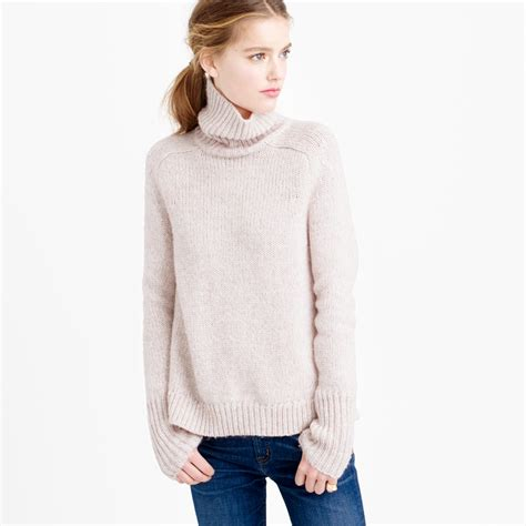 turtle sweaters j crew marled turtleneck sweater in pink lyst