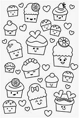 Kawaii Coloring Cupcake sketch template