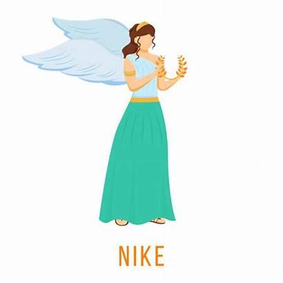 Nike Goddess Illustrations Victory Strength Greek Cartoon
