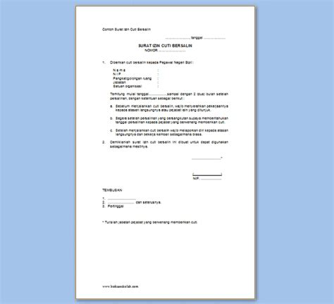 contoh surat izin cuti pegawai negeri sipil format resmi