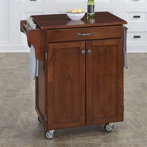 kitchen islands and carts lowes shop home styles cherry scandinavian kitchen cart at lowes 8286