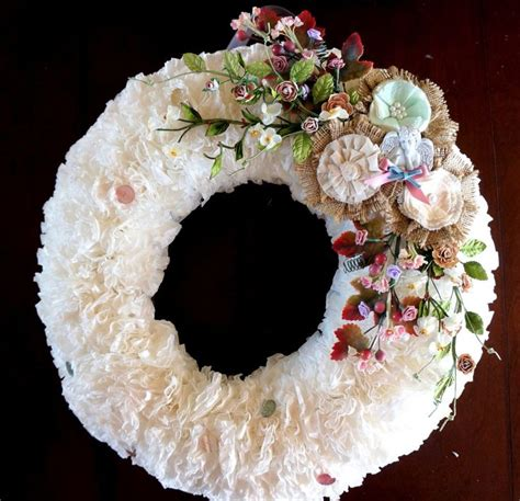 Loosely roll it up, keeping the ruffled edges even. Coffee Filter Wreath w/ Tutorial | DIY | Pinterest