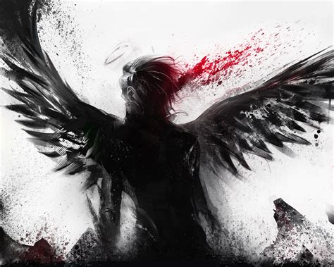 wallpaper bleeding   black angel  hd picture
