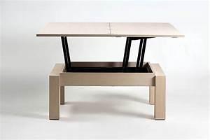 Table basse transformable plateau relevable bois de chêne Petty #5770