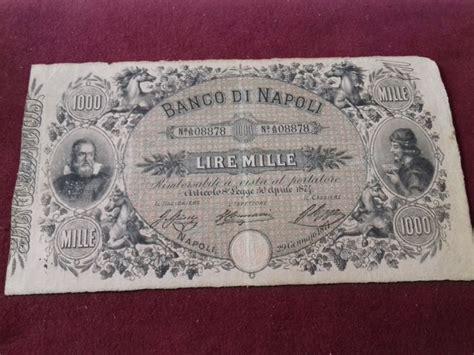 Numero Telefonico Banco Di Napoli Italia 1000 Lire 1877 Banco Di Napoli Gavello 195