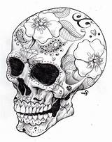 Coloring Pages Skull Sugar Tattoo Printable Side Adults sketch template