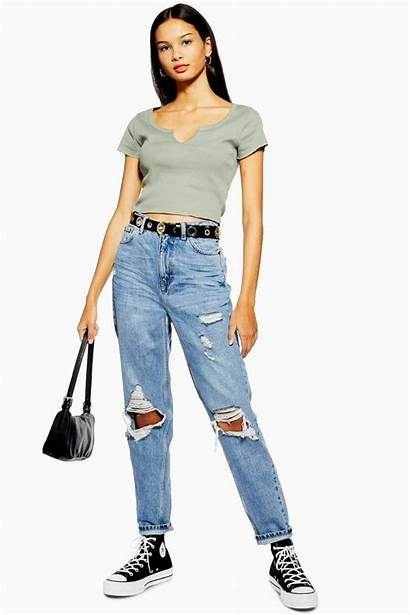 Jeans Mom Topshop Ripped Destroy Rip Bleach
