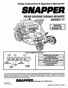 Snapper Lawn Mower M280817b User U0026 39 S Guide