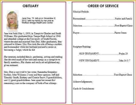 Funeral Service Sheet Template by 4 Funeral Program Template Word Teknoswitch