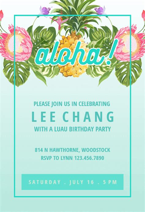pineapple luau perimeter  birthday invitation