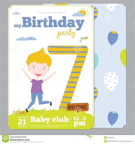 birthday party invitation card template  cute stock