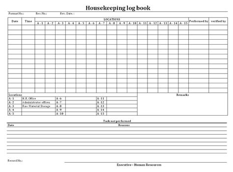 Housekeeping Log Book Format