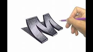 How to Draw 3D Letter M - Drawing with pencil - Amazing ...