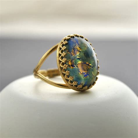 Opel Ring by Green And Blue Opal Ring By Masquerade