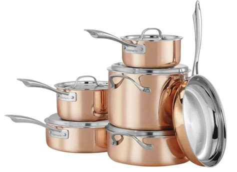 piece cuisinart copper tri ply stainless steel cookware