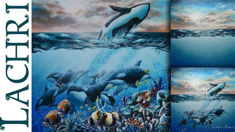 speed painting orcas  coral reef  acrylic time